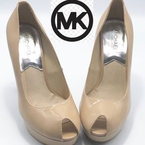 Michael MK Nude Leather Peep toe Pumps 7.5
